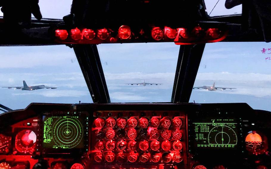 A view of three U.S. Air Force B-52 Stratofortresses as seen from the cockpit of another B-52, as they fly with the Norwegian air force, Aug. 26, 2020. Six B-52s from the 5th Bomb Wing at Minot Air Force Base, N.D., will overfly all 30 NATO member states on Aug. 28, 2020, NATO and the U.S. military said.