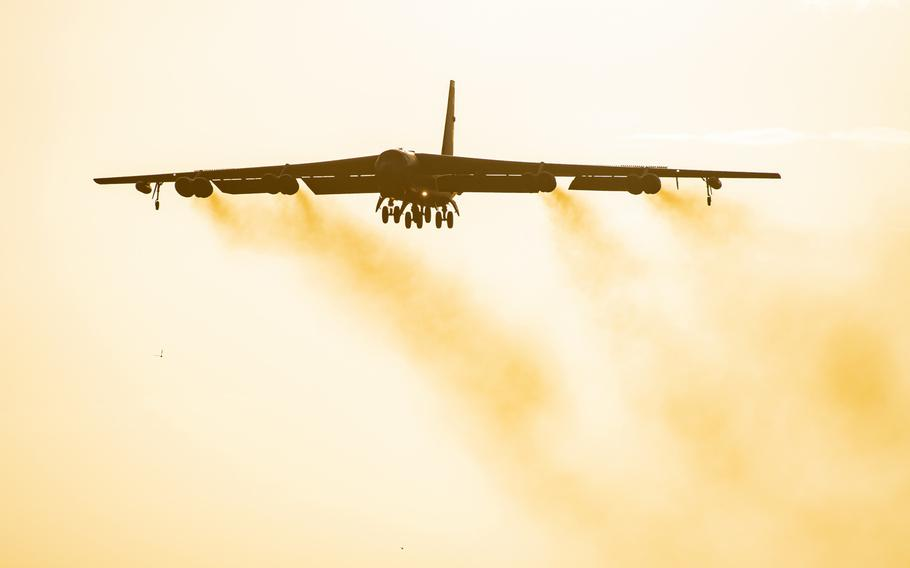A B-52 Stratofortress flies overhead at RAF Fairford, England, Aug. 22, 2020. Six B-52s from the 5th Bomb Wing at Minot Air Force Base, N.D., will overfly all 30 NATO member states on Aug. 28, 2020, NATO and the U.S. military said.