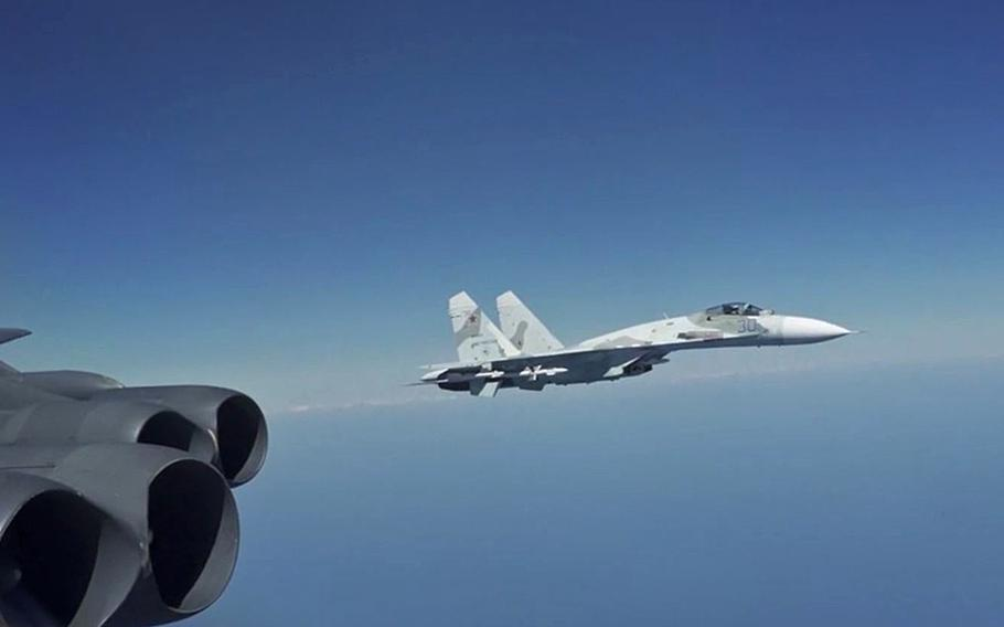 A Russian Su-27 Flanker jet intercepts a U.S. Air Force B-52 bomber conducting operations over Black Sea international waters, Aug. 28, 2020. A Russian Su-27 also intercepted a U.S. B-52 over Denmark's Bornholm island on Friday, which NATO this week said was a rare and significant violation of its airspace.