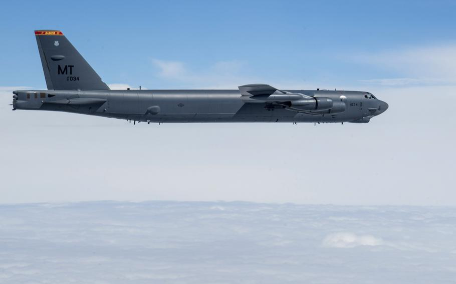 A U.S. B-52H Stratofortress assigned to the 5th Bomb Wing, Minot Air Force Base, N.D., flies over Ukraine during a Bomber Task Force Europe mission, Sept. 4, 2020.