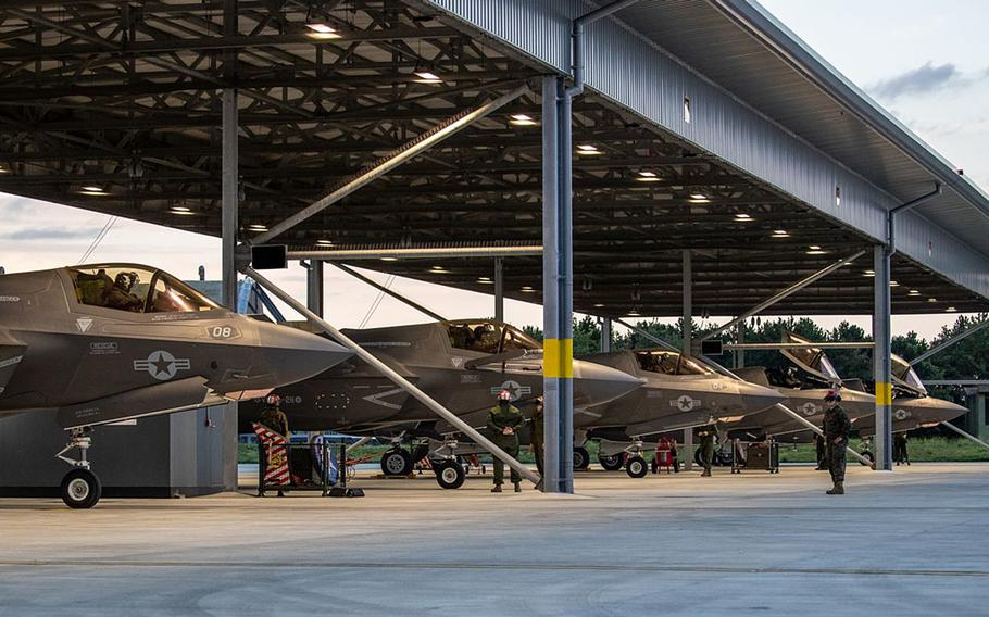 Aircraft from Marine Fighter Attack Squadron 211 arrived at RAF Marham Sept. 3, 2020, from their base in Yuma, Ariz. The 10 F-35B Lightning II jets are participating in Exercise Point Blank 20-4 along with other NATO partners.