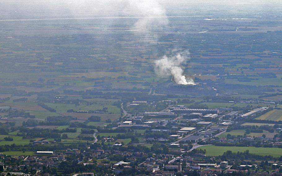 Smoke rises from a waste treatment plant near Aviano, Italy, on Sept. 20, 2020, after a fire began the prior evening. Twelve fire departments from local towns and responders from the 31st Fighter Wing at Aviano Air Base had largely extinguished the fire by Monday.