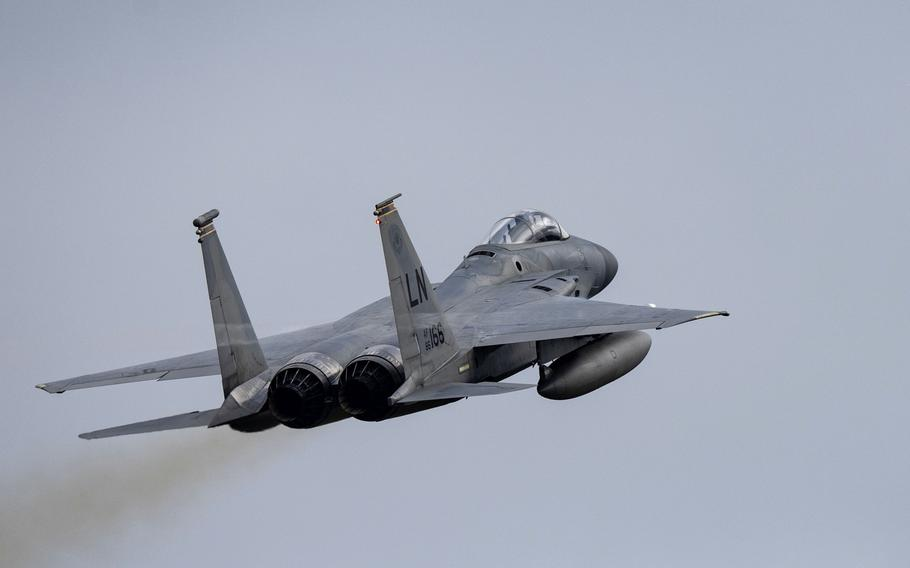 An F-15C Eagle of the 493rd Fighter Squadron takes off  from RAF Lakenheath, England, Sept. 21, 2020, to participate in exercise Astral Knight 2020 in Poland.