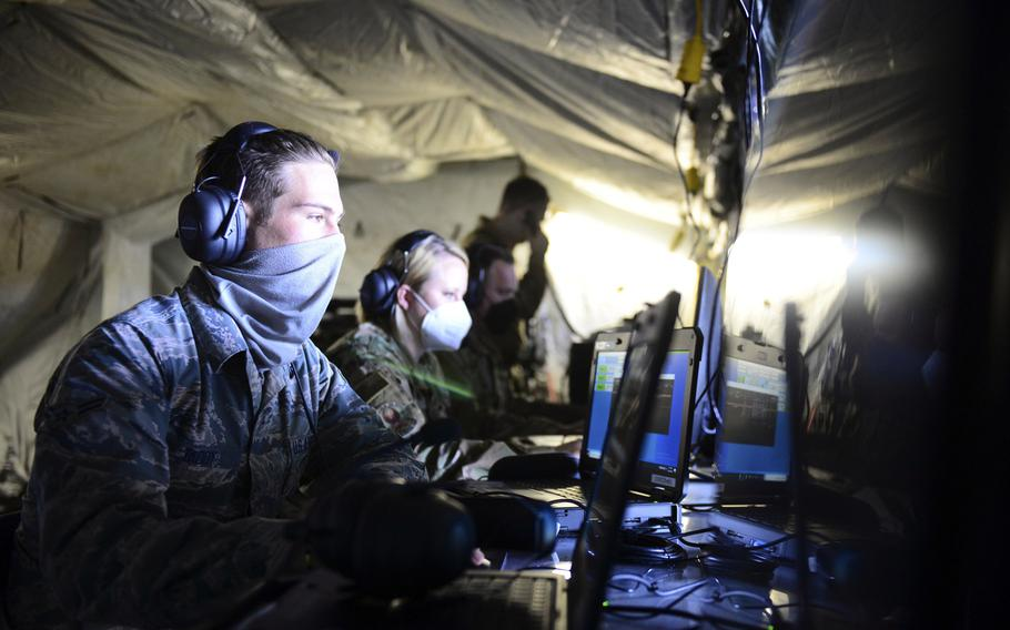 Members of the 606th Air Control Squadron operate the Theater Operationally Resilient Command and Control system during exercise Astral Knight 20 at Malbork Air Base, Poland, Sept. 22, 2020.