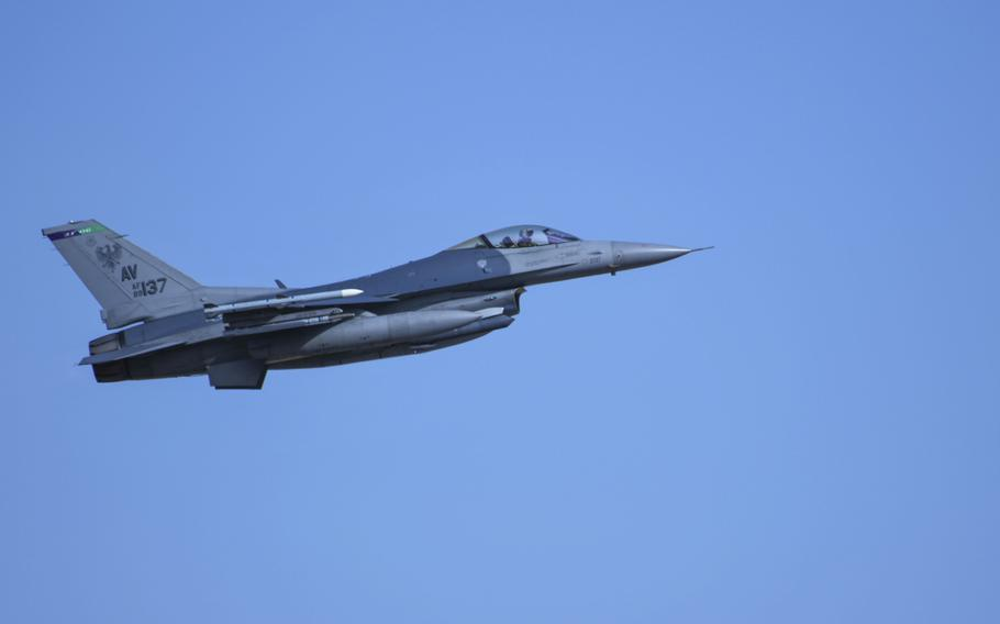 A U.S. Air Force F-16 Fighting Falcon assigned to the 555th Fighter Squadron, Aviano Air Base, Italy, flies over Graf Ignatievo Air Base, Bulgaria, during exercise Thracian Viper 20, Sept. 21, 2020.