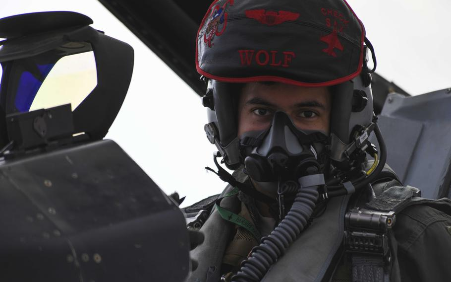 A U.S. Air Force pilot from the 555th Fighter Squadron, Aviano Air Base, Italy, sits in the cockpit of an F-16 Fighting Falcon at Graf Ignatievo Air Base, Bulgaria, Sept. 21, 2020.