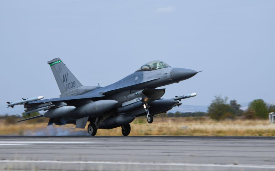 A U.S. Air Force F-16 Fighting Falcon assigned to the 555th Fighter Squadron, Aviano Air Base, Italy, lands on Graf Ignatievo Air Base, Bulgaria, during exercise Thracian Viper 20, Sept. 18, 2020.