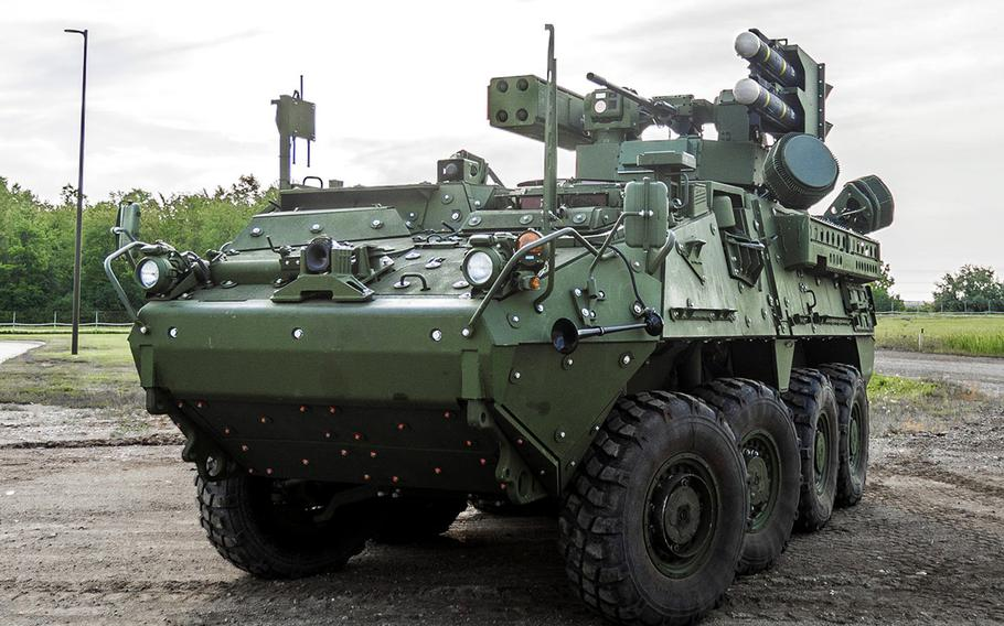 A Stryker A1 Interim Maneuver Short-Range Air Defense system vehicle armed with Hellfire and Stinger missiles and a 30mm cannon. General Dynamics was awarded a $1.2 billion contract on Sept. 30, 2020, to develop an air defense system mounted on a Stryker A1 platform for the Army.