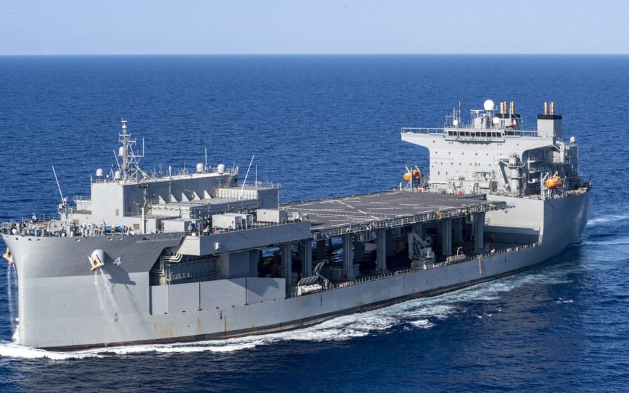 """The expeditionary sea base USS Hershel """"Woody"""" Williams navigates the Mediterranean Sea, Aug. 20, 2020. The Navy announced on Oct. 2, 2020, that the ship will be home-ported at Souda Bay in Greece."""