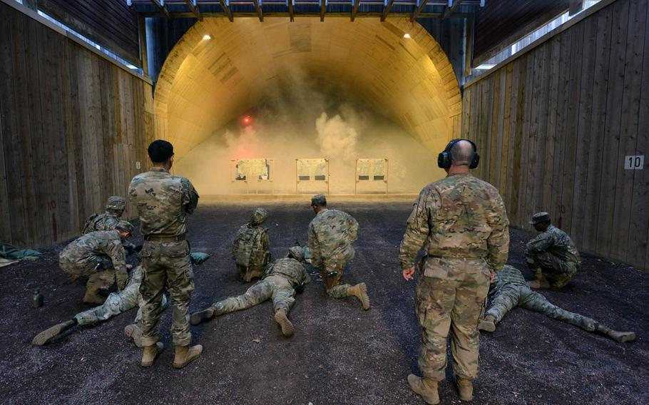 U.S. soldiers participate in an exercise at the Panzer Range Complex in Boeblingen, Germany, April 16, 2019. The Army will move forward with a nearly $2 million project to soundproof the suburban Stuttgart firing range, despite plans to leave the area.