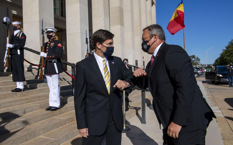 Defense Secretary Mark Esper welcomes Romanian Defense Minister Nicolae Ciuca to the Pentagon, Oct. 8, 2020. The two defense leaders signed a 10-year road map for defense cooperation that puts increased focus on security around the Black Sea.