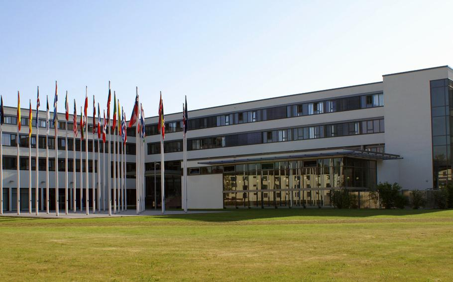 The headquarters building of NATO's Allied Air Command at Ramstein Air Base, Germany. NATO  is expected to approve plans this week for a new space center at Ramstein, which will serve as a hub against threats to military satellites.