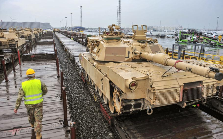 Tanks from 1st Armored Brigade Combat Team, 1st Cavalry Division are loaded onto train cars at the port of Antwerp, Belgium, in 2018 to be transported to Poland for Atlantic Resolve. Soldiers with the Fort Hood, Texas-based tank brigade are back in Europe for Atlantic Resolve, U.S. Army Europe said in a statement Oct. 28. 2020.