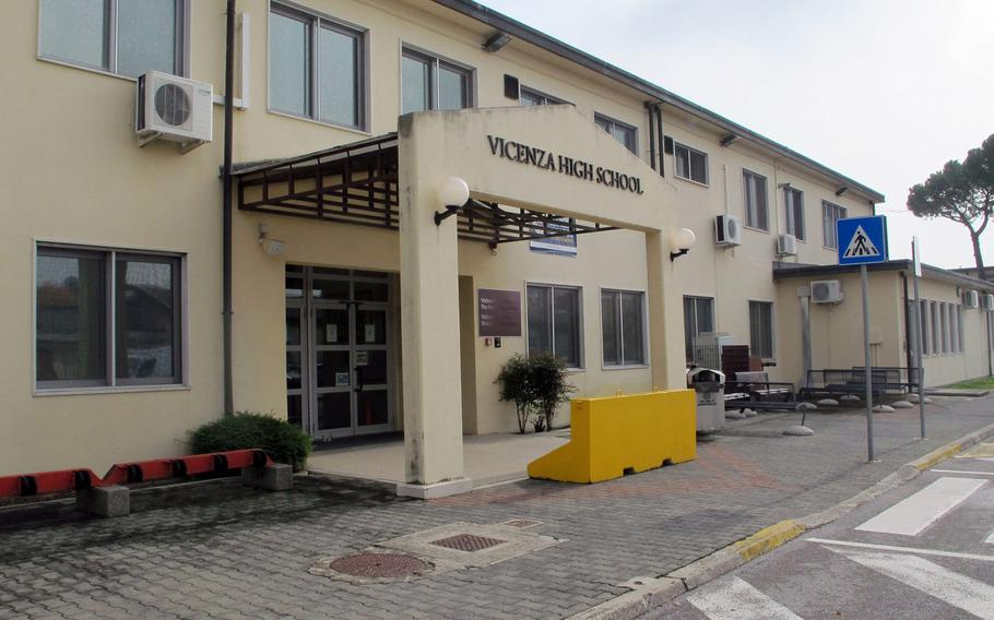 Vicenza High School, which closed for a day on Oct. 26, 2020, after a student tested positive for the coronavirus. Although Italian high schools are requiring that 75% of their students go to school online, the base high school's classrooms will remain open.
