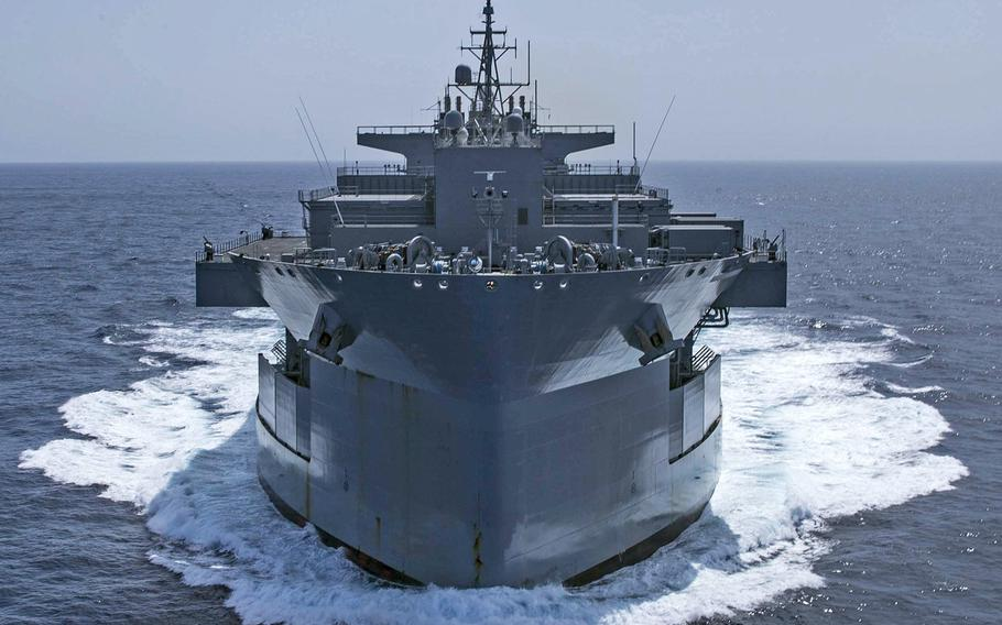 """The Expeditionary Sea Base USS Hershel ''Woody'' Williams sails in the Atlantic Ocean, Oct. 17, 2020. Hershel """"Woody"""" Williams is on its inaugural deployment in the U.S. Naval Forces Europe-Africa area of responsibility in support of maritime missions and special operations."""