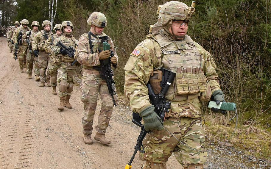 U.S. soldiers with the 2nd Cavalry Regiment move to the demolition range during qualification at Grafenwoehr Training Area, Germany, in February 2020. President-elect Joe Biden is expected, in one of his first military policy moves, to reverse the Trump administration's plan to withdraw troops from Germany.