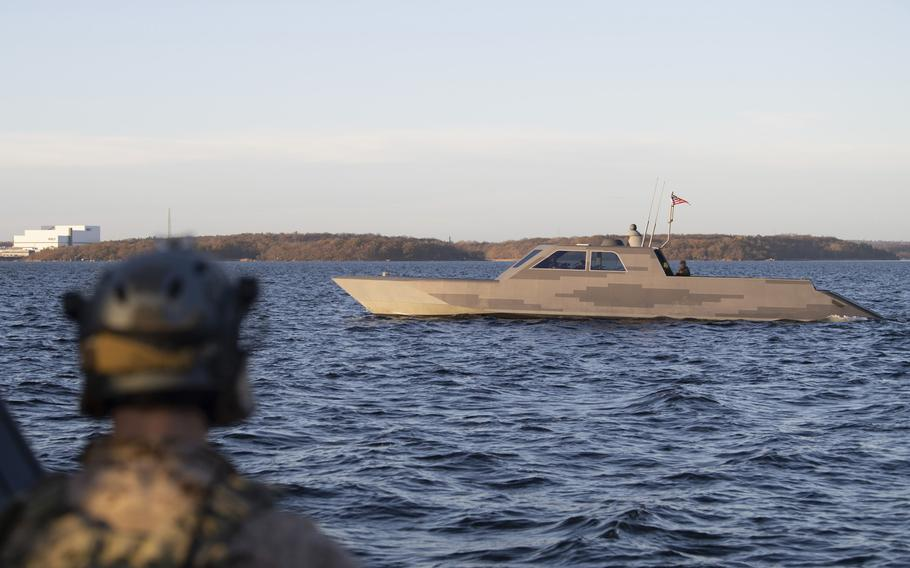U.S. Navy special warfare combatant-craft crewmen navigate a Combatant Craft Medium through the Baltic Sea near Karlskrona, Sweden, during a bilateral exercise with conventional and special operations forces on Nov. 6, 2020.