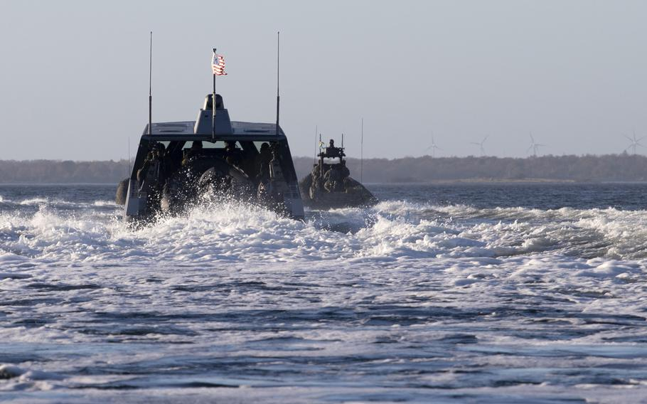 U.S. Navy special warfare combatant-craft crewmen assigned navigate a Combatant Craft Medium through the Baltic Sea near Karlskrona, Sweden, during a bilateral exercise with conventional and special operations forces on Nov. 6, 2020.