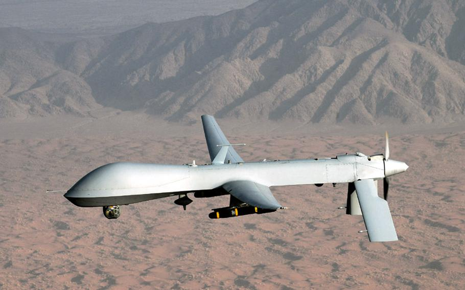 An unmanned aerial vehicle (UAV) or drone operated by the U.S. military.