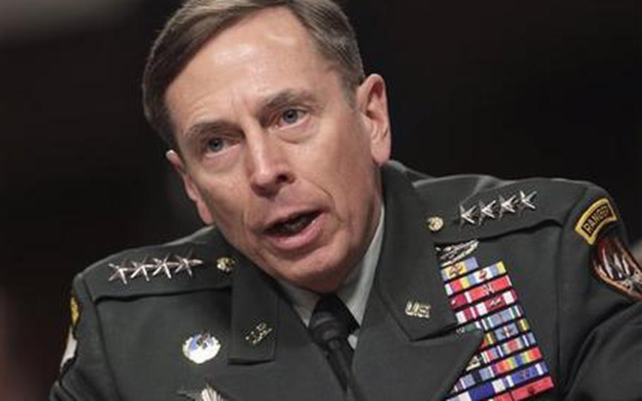 Gen. David Petraeus, commander of U.S. and NATO forces in Afghanistan, testifies on Capitol Hill in Washington, Tuesday, March 15, 2011, before the Senate Armed Services Committee on the situation in Afghanistan.
