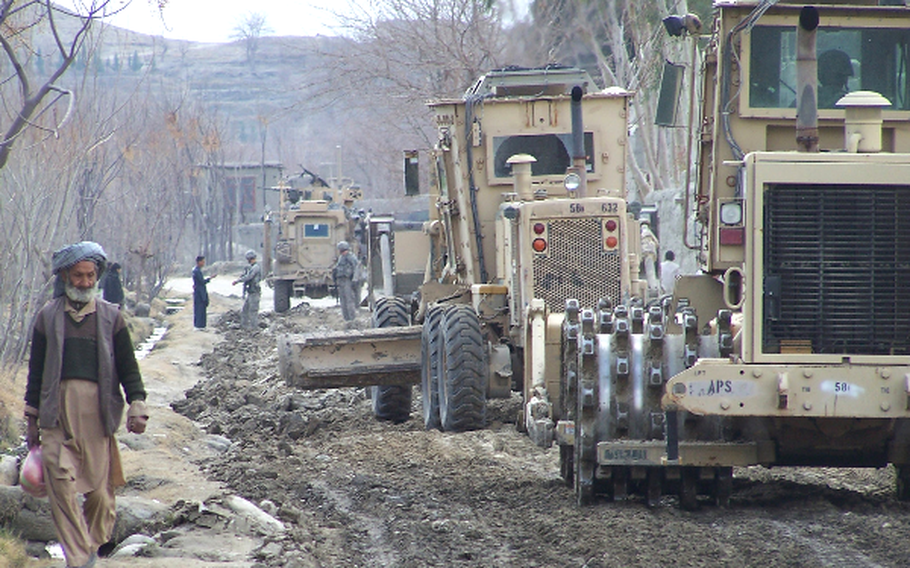 Engineers attached to 1st Brigade Combat Team, Task Force Bastogne, in cooperation with the Government of the Islamic Republic of Afghanistan and Afghan National Security Forces, began the process of rebuilding damaged roads in the Khogyani and Sherzad districts of Nangarhar province, in early February.