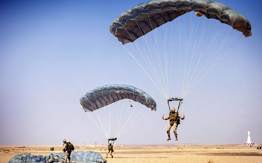 Marines with the 26th Expeditionary Unit descend to their landing zone on King Faisal Air Base in Jordan, June 12, 2013. The exercise was a part of Eager Lion, which involved 5,000 American servicemembers, and took place while civil war raged next door in Syria.
