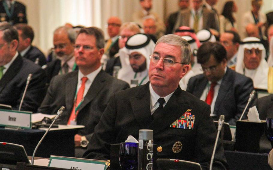 Vice Adm. John Miller, commander of U.S. 5th Fleet, is in attendance Dec. 7, 2013, for Defense Secretary Chuck Hagel's speech at the Manama Dialogue, an annual security conference in Bahrain. Hagel said in the speech that $580 million in construction upgrades were under way to support 5th Fleet, based in Bahrain.