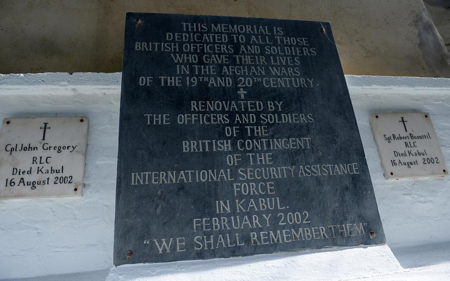 A memorial plaque on display in the British cemetery in Kabul. The Anglo-Afghan wars provided many warnings about the challenges of fighting a stubborn insurgency against experienced fighters armed with cheap but effective weapons like the jezail musket.