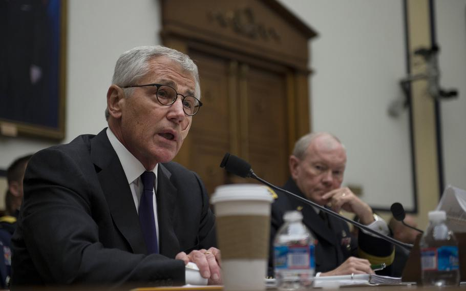 Secretary of Defense Chuck Hagel testifies before the House Armed Services Committee on U.S. policy toward Iraq and the threat posed by the Islamic State of Iraq and the Levant (ISIL) at the Rayburn House Office Building, Washington D.C., Nov. 13, 2014.