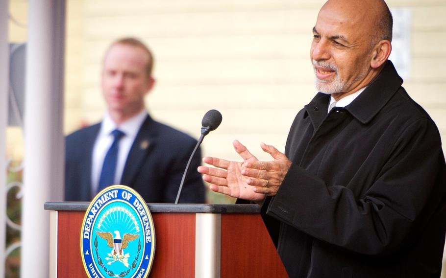 Afghan President Ashraf Ghani delivers remarks in the Pentagon center courtyard March 23, 2015. Defense Secretary Ash Carter hosted Ghani and Afghan Chief Executive Abdullah Abdullah for a visit.