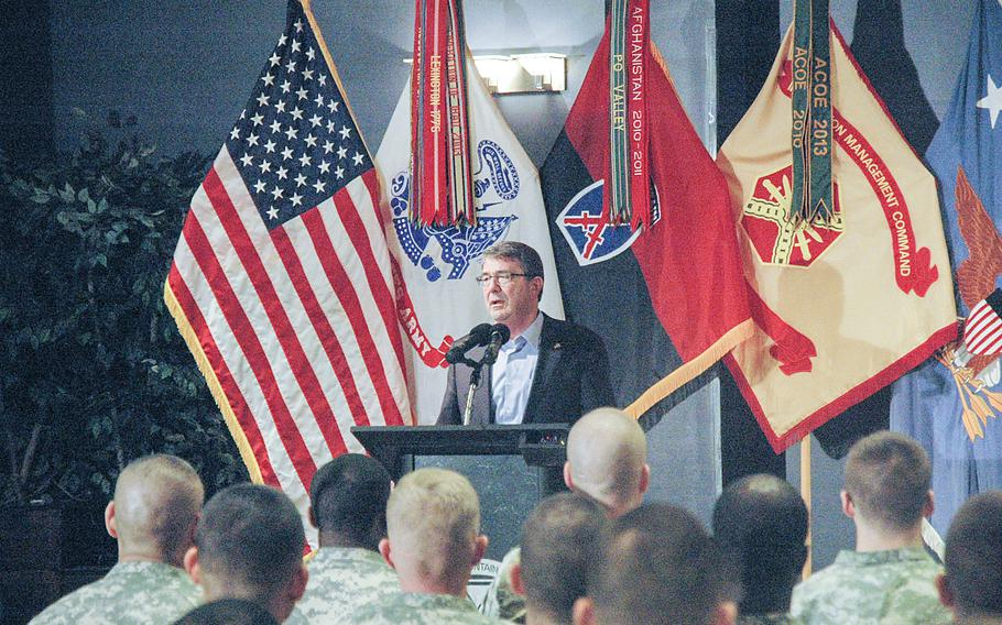 Secretary of Defense Ash Carter speaks to soldiers from the Army's 10th Mountain Division at Fort Drum, N.Y., on Mar. 30, 2015.
