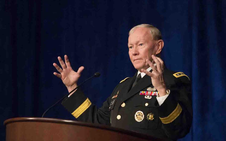 Army Gen. Martin E. Dempsey, chairman of the Joint Chiefs of Staff, speaks at a Volunteer Leadership Symposium breakfast hosted by the University of Notre Dame at the Ritz-Carlton hotel in Washington D.C., April, 14, 2015.
