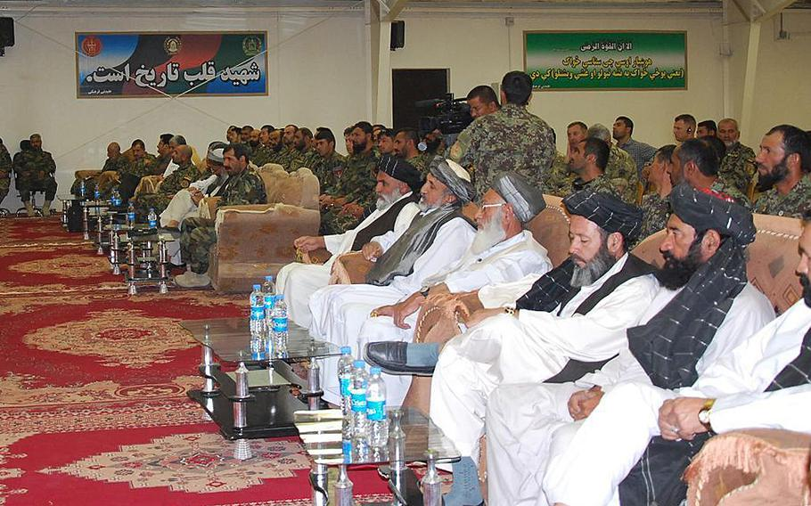 Members of the High Peace Council attend meetings at Camp Shorabak, Helmand province in June 2012. The Afghan government and the Taliban are set to meet in China to discuss the possibility of launching peace talks, official with the High Peace Council announced Saturday, July 25, 2015.