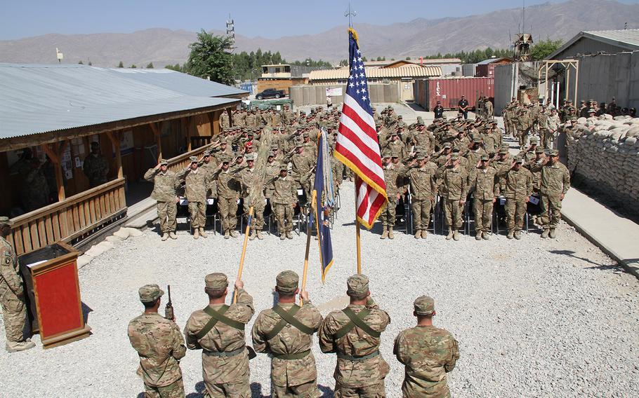 Task Force Leader, 1st Battalion, 187th Infantry Regiment transfers responsibility of Tactical Base Gamberi to Task Force Wild Boar, 2nd Battalion, 30th Infantry Regiment during a ceremony on Oct. 2, 2015. Task Force Wild Boar will continue as the military advisory team advising and assisting the Afghan National Army.