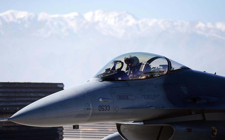 An Air Force F-16 fighter arrives back at Bagram Air Field in Afghanistan after a combat air patrol. American F-16s are in the air over the war-torn country 24 hours a day, seven days a week.