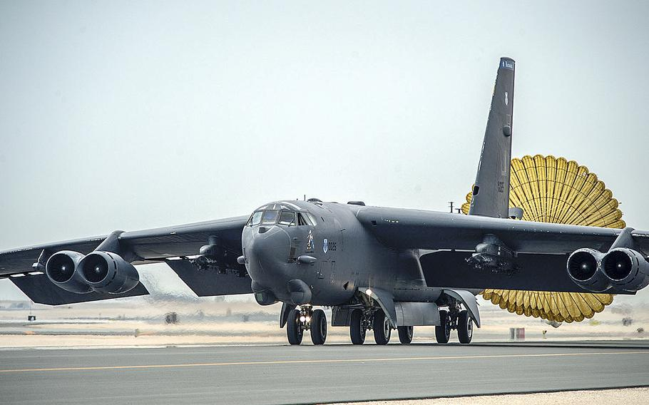 U.S. Air Force B-52 Stratofortress aircraft from Barksdale Air Force Base, La., arrives at Al Udeid Air Base, Qatar, April 9, 2016 in support of Operation Inherent Resolve.