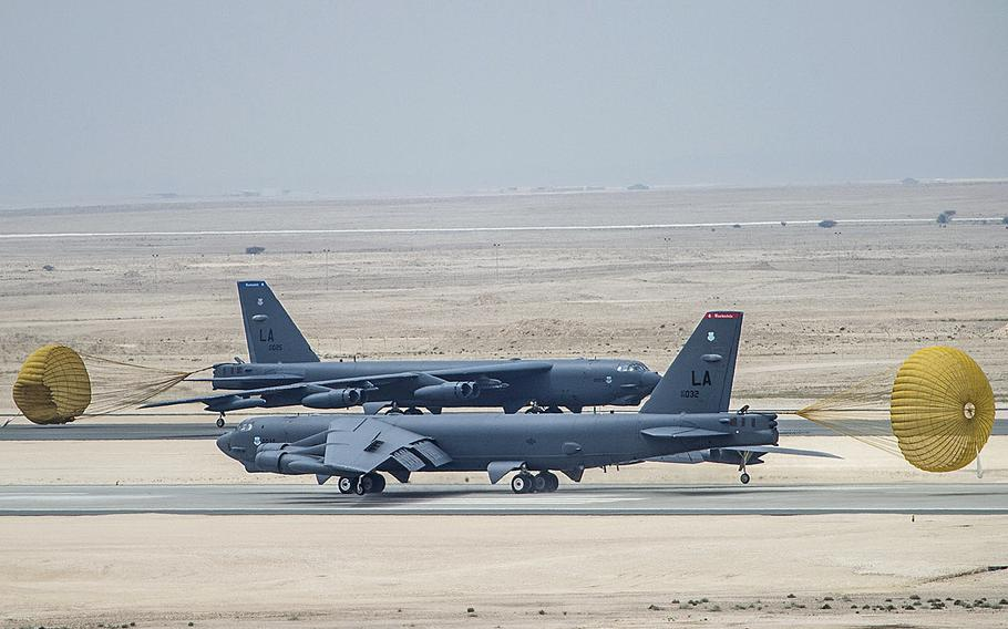 U.S. Air Force B-52 Stratofortress aircraft from Barksdale Air Force Base, Louisiana, arrived at Al Udeid Air Base, Qatar, April 9, 2016 in support of Operation Inherent Resolve, the operation to eliminate the Islamic State and the threat they pose to Iraq, Syria and the wider international community, and as needed in the region.