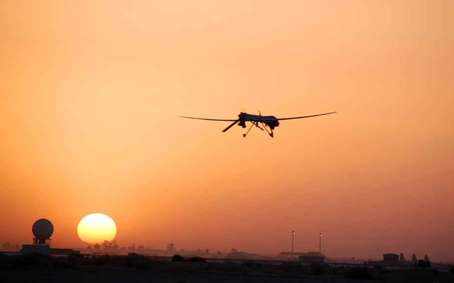 A U.S. Air Force MQ-1B Predator goes out on patrol from Balad Air Base, Iraq, in August 2007.