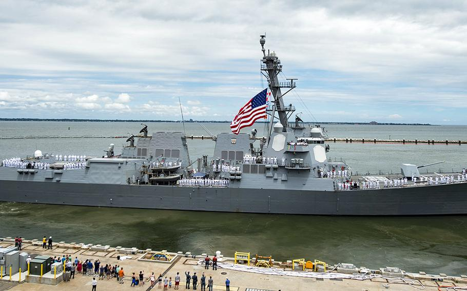 A June, 2016 file photo of the USS Nitze at Naval Station Norfolk, Va.