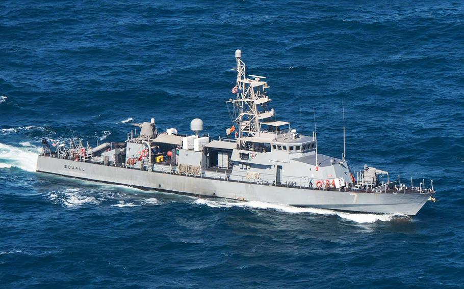 In a January, 2015 file photo, the patrol craft USS Squall steams in the Persian Gulf.