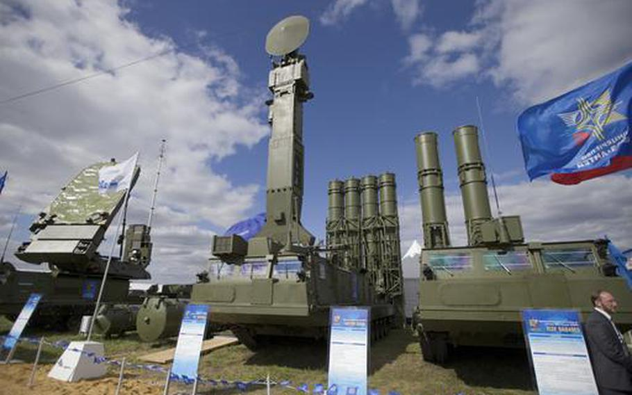 In this Tuesday, Aug. 27, 2013 file photo, Russian air defense system missile system Antey 2500, or S-300 VM, is on display at the opening of the MAKS Air Show in Zhukovsky outside Moscow, Russia. The Russian military said Tuesday it had deployed the S-300 air defense missile systems to Syria to protect a Russian navy facility in the Syrian port of Tartus and Russian navy ships in the area.