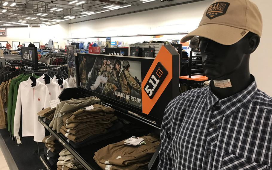 Apparel made by 5.11 Tactical is displayed at the Kaiserslautern Military Community Center main exchange at Ramstein Air Base, Germany, on Jan. 13, 2017. The American brand and its impostors have become popular among Iraqi forces mentored by American servicemembers and contractors.