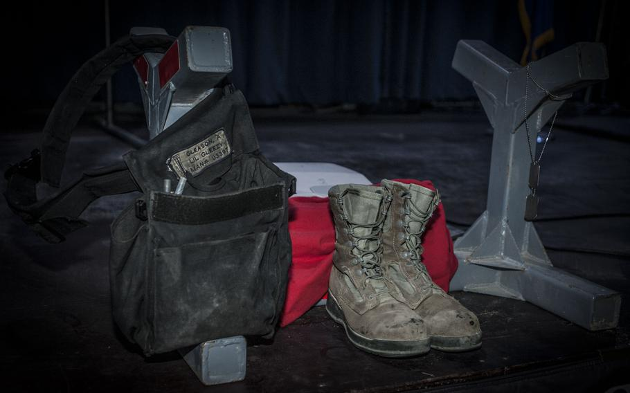 A memorial for Staff Sgt. Alexandria Morrow, 332nd Expeditionary Maintenance Squadron weapons load crew chief, is displayed during a fallen warrior memorial ceremony Mar. 23, 2017, in Southwest Asia.