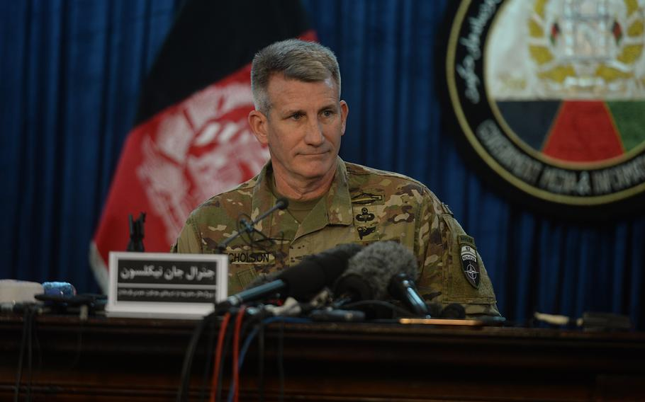 """Gen. John Nicholson, commander of U.S. and NATO forces in Afghanistan, speaks at a news conference in Kabul on Friday, April 14, 2017. Nicholson said the GBU-43B bomb was the """"right weapon"""" to use against Islamic State militants."""