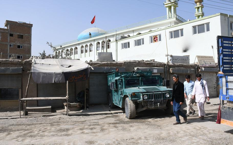 An Afghan security forces vehicle is part of a heavy police presence at the Imam Zaman mosque in Kabul, Afghanistan, on Saturday, Oct. 21, 2017.