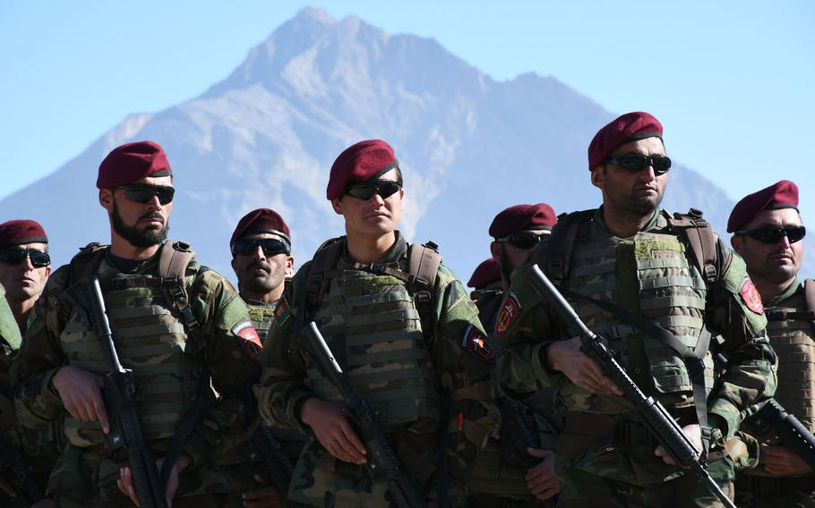 More than 1,000 Afghans graduate from commando training in Kabul on Dec. 6, 2017, part of a U.S.-backed drive to break a stalemate with insurgents, who are said to control more territory than at any other time since 2001.