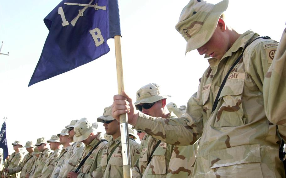 Spc. Nick Moore gives an emotional eulogy in September 2003 for his friend, Spc. Trevor Blumberg, who died during an attack outside Fallujah.