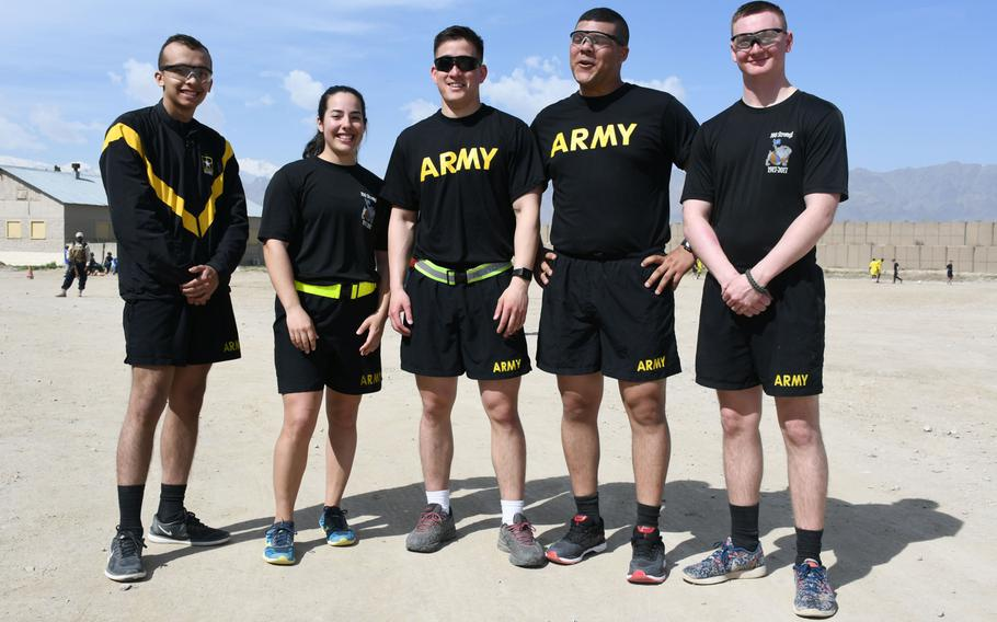 Team U.S.A.: Army Spc. Isac Suazo, from left, Army 1st Lt. Kori Nunes, Army 1st Lt. Kevin McNicholas, Army Spc. Christafer Bingham and Army Pfc. Austin Callihan pose for a photo after losing to a Ugandan team in the Bagram World Cup soccer tournament on Friday, March 23, 2018.