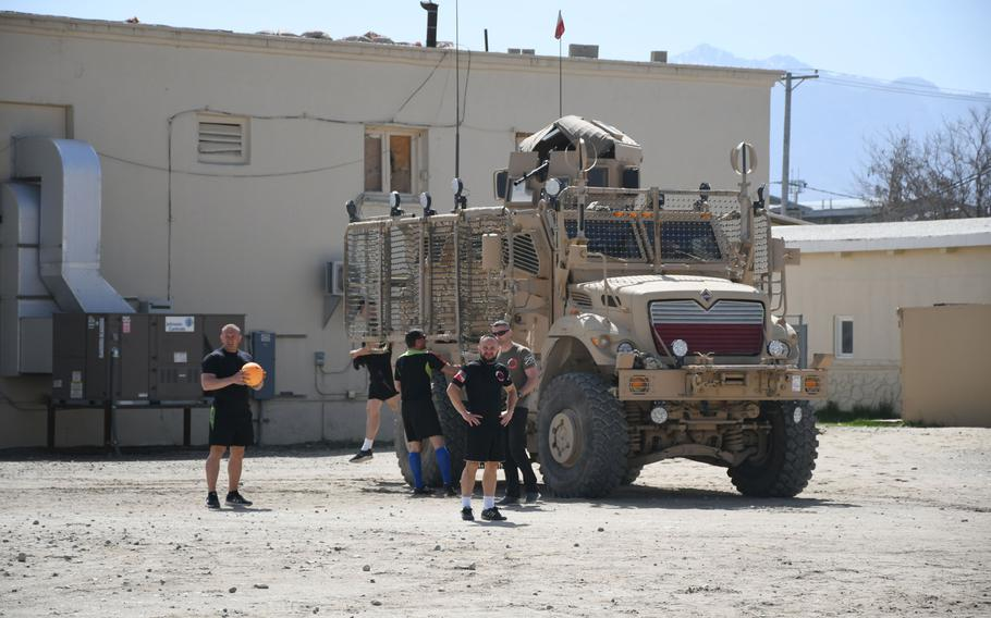 Team Poland shows up in a MRAP to play in the Bagram World Cup soccer tournament on Friday, March 23, 2018, at Bagram Air Field, Afghanistan.