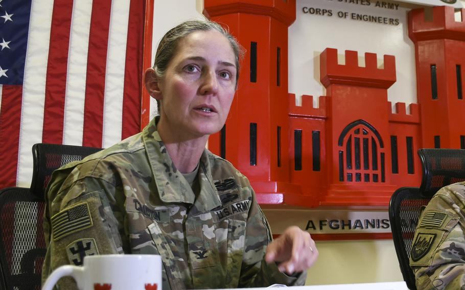 Col. Kimberly M. Colloton, commander of the U.S. Army Corps of Engineers Transatlantic Afghanistan District, is pictured here on Tuesday, Dec. 19, 2017, at Bagram Air Field.
